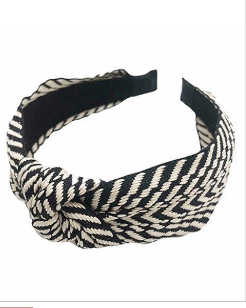 What's Knot to Love Black Embroidered Headband
