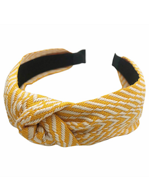 What's Knot to Love Yellow Embroidered Headband