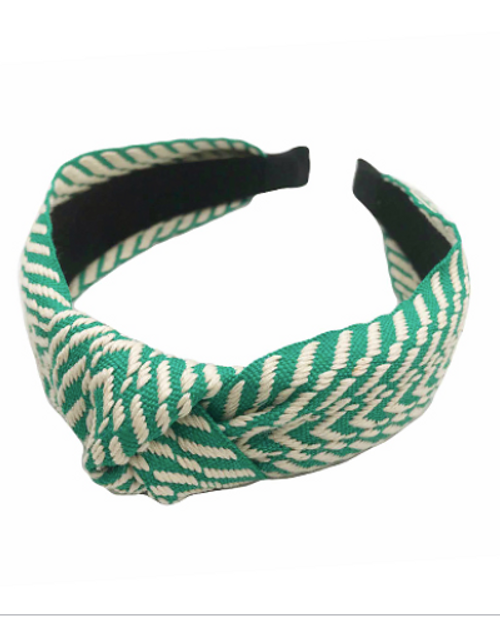 What's Knot to Love Green Embroidered Headband
