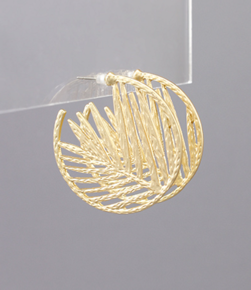 Paradise Palm Gold Hoops