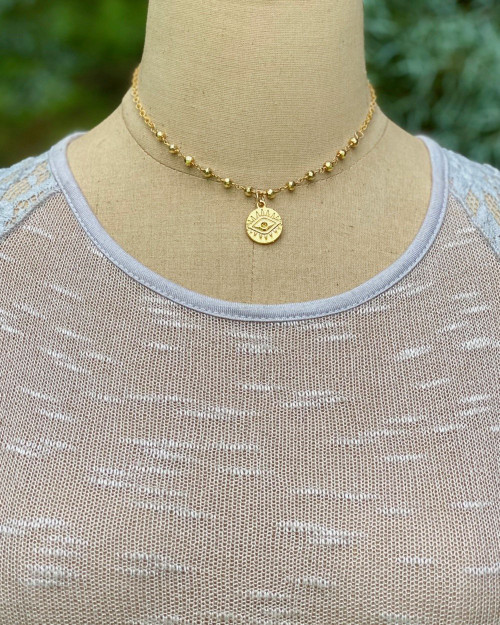 Golden Coin Choker Necklace
