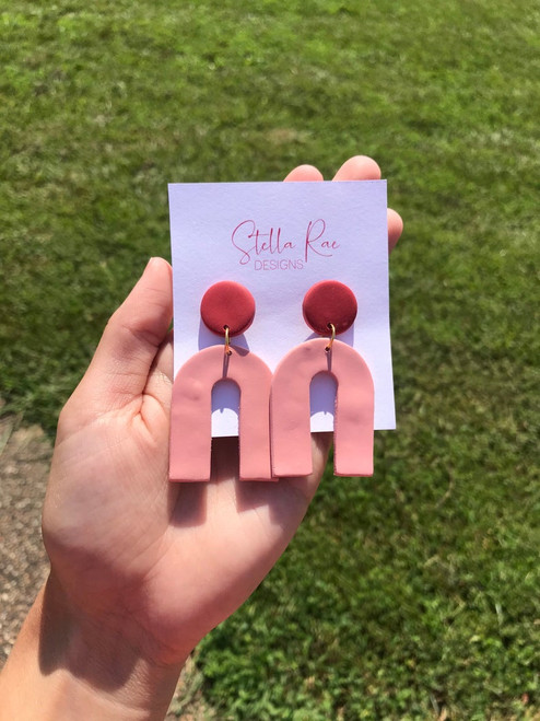 Rose/Rust Large Arch Earrings