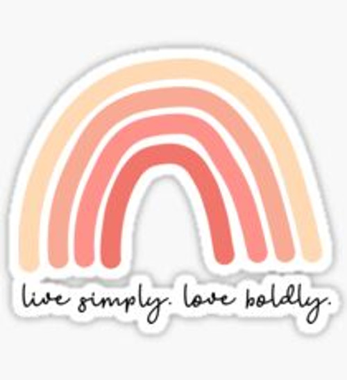 """Live Simply Love Boldly"" Rainbow Sticker"