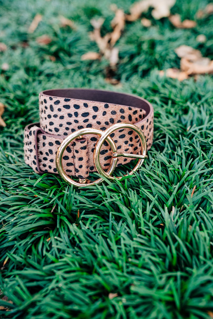 Cheetah Double O Ring Brown Belt