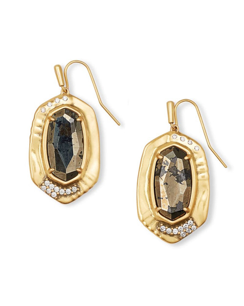 Anna Vintage Gold Drop Earrings In Black Pyrite