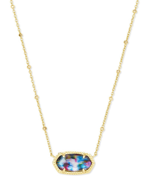 Elisa Gold Satellite Pendant Necklace In Teal Tie Dye Illusion