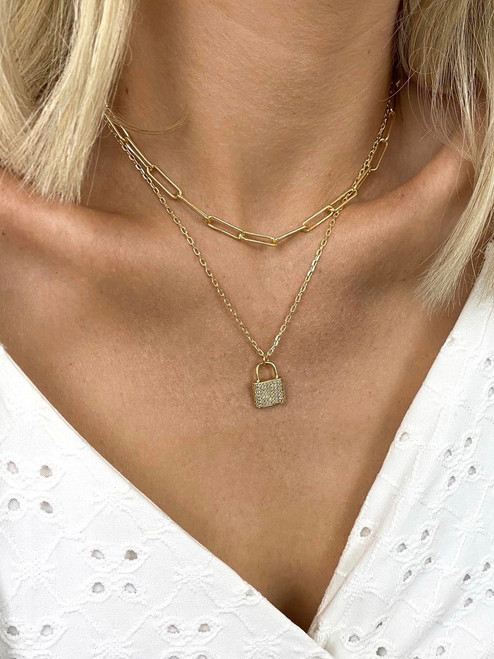Hitched 2 Layer Lock Necklace
