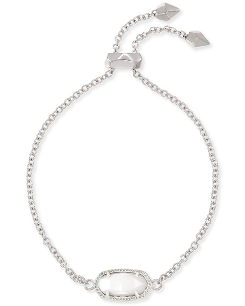 Elaina Silver Adjustable Chain Bracelet in White Mother of Pearl