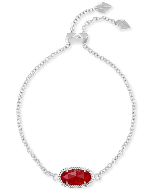 Elaina Silver Adjustable Chain Bracelet in Ruby Red