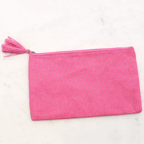 Jute Cosmetic Bag in Hot Pink
