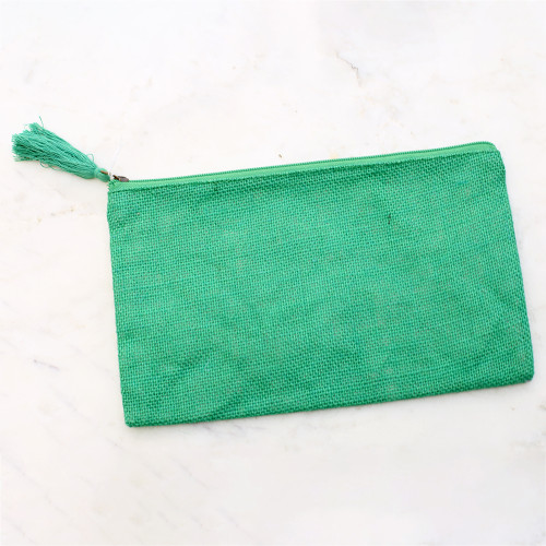 Jute Cosmetic Bag in Green