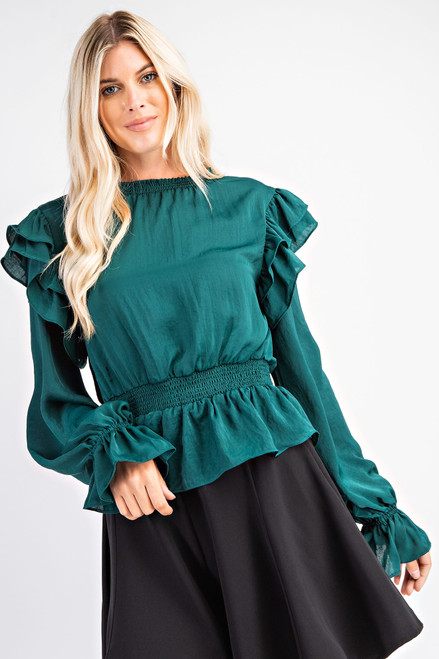 Unapologetically Fun Green Peplum Top