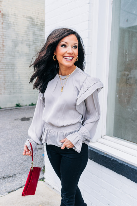 Unapologetically Fun Silver Peplum Top