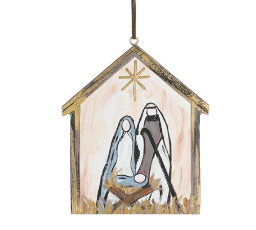 Hand Painted Wooden Nativity Ornament