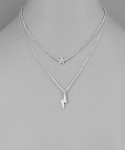 Stars and Strikes Silver Necklace