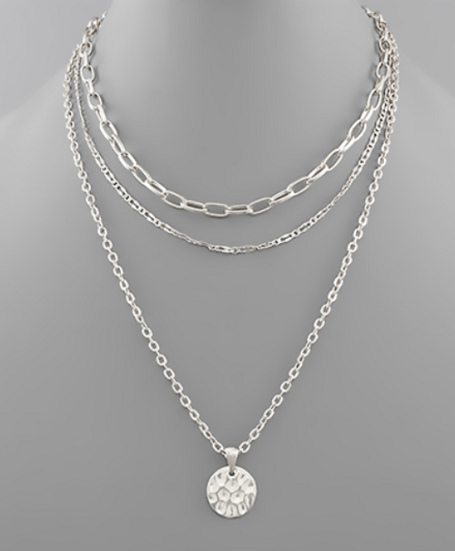 Triple Threat Silver Necklace