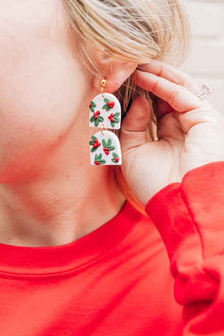 Christmas Mistletoe Clay Earrings