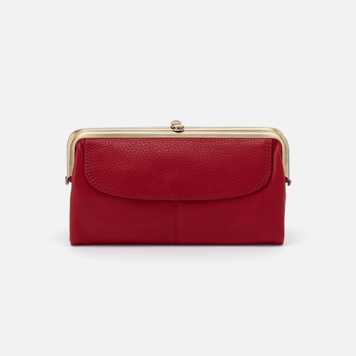 Lauren Scarlet Velvet Hide Clutch Wallet
