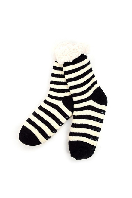 Black  & White Stripe Sherpa Slipper Socks