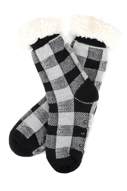 Plaid Sherpa Slipper Socks