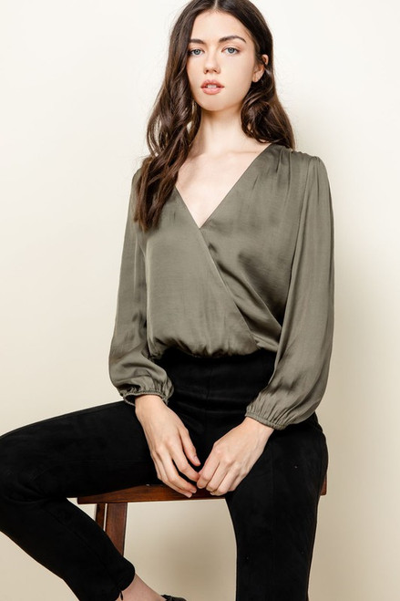 Share Your Dreams Olive Wrap Top
