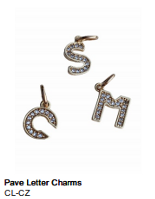 Pave Initial Letter Charm