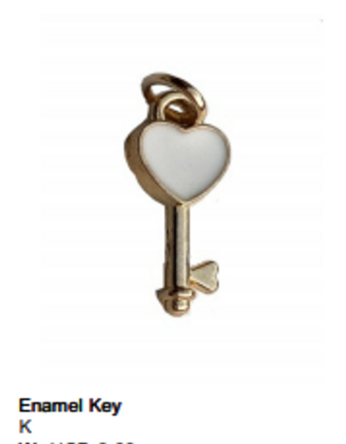 Enamel White Key Charm