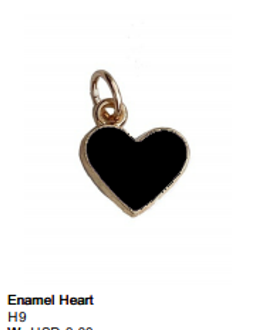 Enamel Black Heart Charm