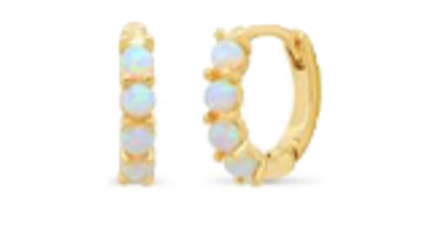 Opal Huggie Hoop Earrings