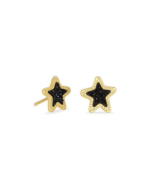 Jae Star Gold Stud Earrings In Black Drusy