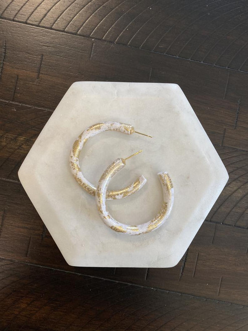 White & Gold Clay Hoops