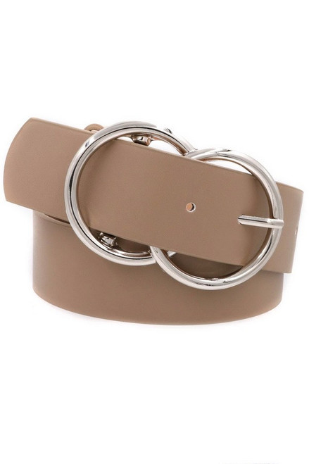 Double O-Ring Silver Taupe Buckle Belt