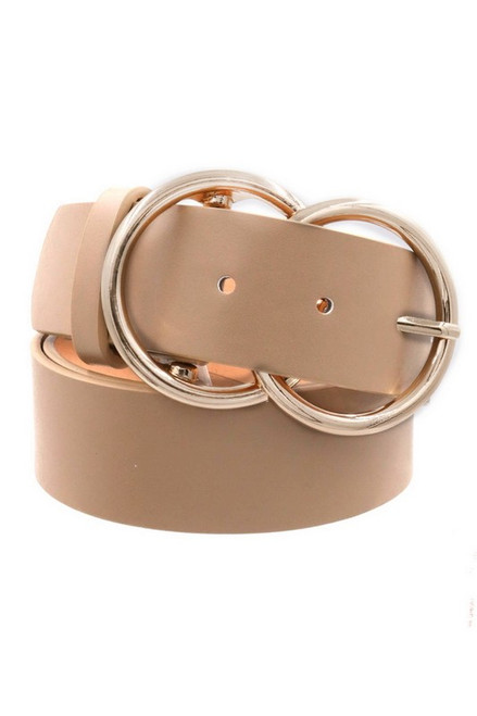 Double O-Ring Gold Taupe Buckle Belt