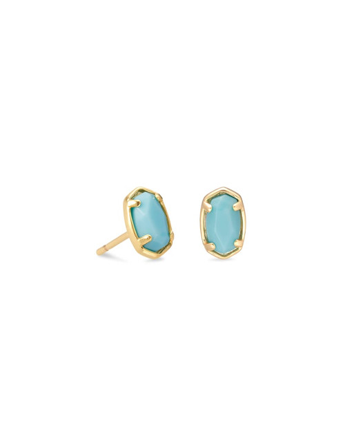Emelie Gold Stud Earrings in Light Blue Magnesite