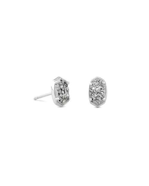 Emilie Silver Stud Earrings in Platinum Drusy