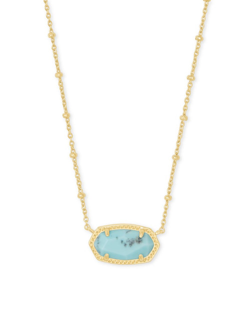 Elisa Satellite Gold Pendant in Light Blue Magnesite