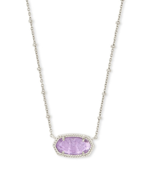 Elisa Satellite Silver Pendant Necklace in Purple Amethyst