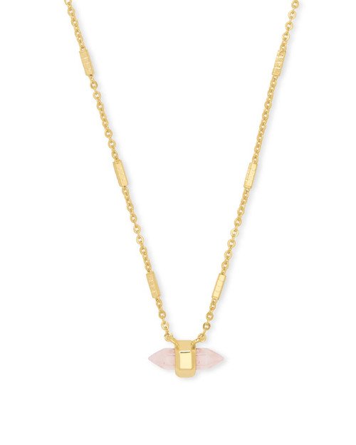 Jamie Gold Pendant Necklace in Rose Quartz