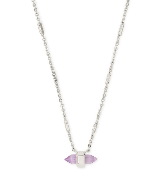 Jamie Silver Pendant Necklace in Purple Amethyst