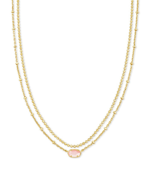 Emilie Gold Multi Strand Necklace In Rose Mother Of Pearl