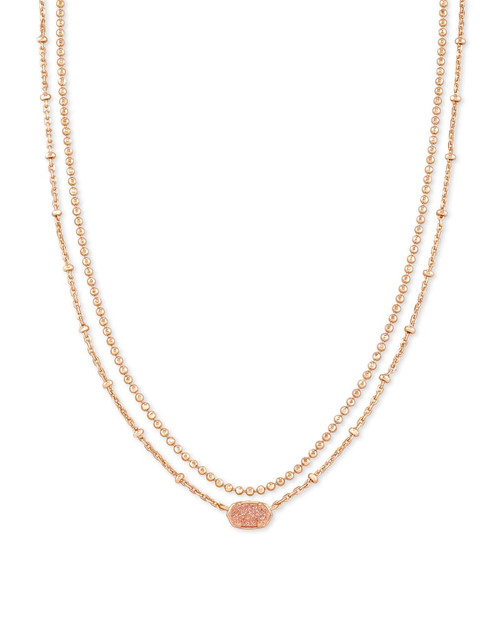 Emilie Rose Gold Multi Strand Necklace In Sand Drusy