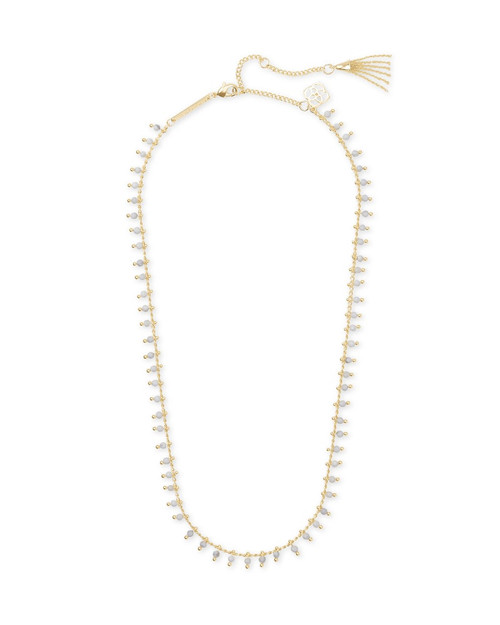 Jenna Gold Choker Necklace In White Howlite