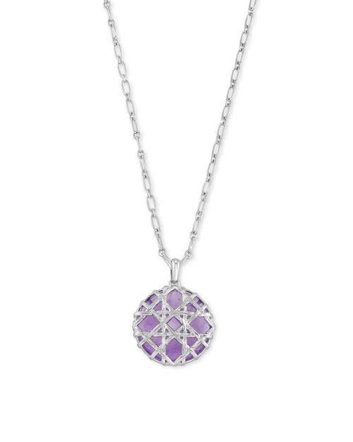 Natalie Silver Long Pendant Necklace In Purple Amethyst