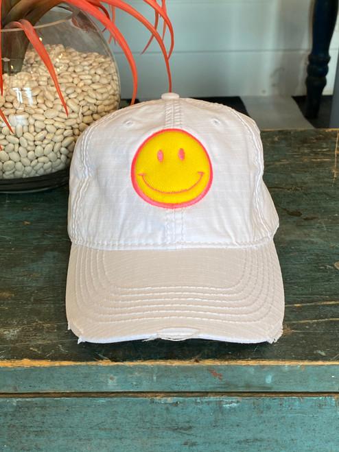 Be Happy White Golf Cap (Pink Stitching)