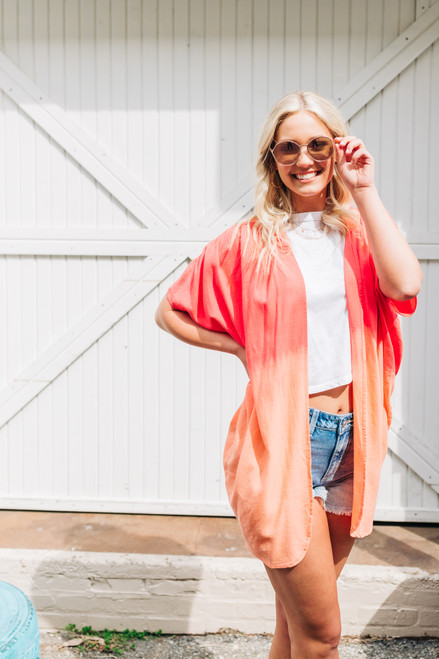 Focus On The Good Hot Coral Kimono