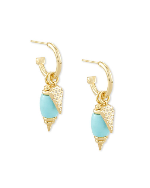 Demi Gold Huggie Earrings In Light Blue Magnesite