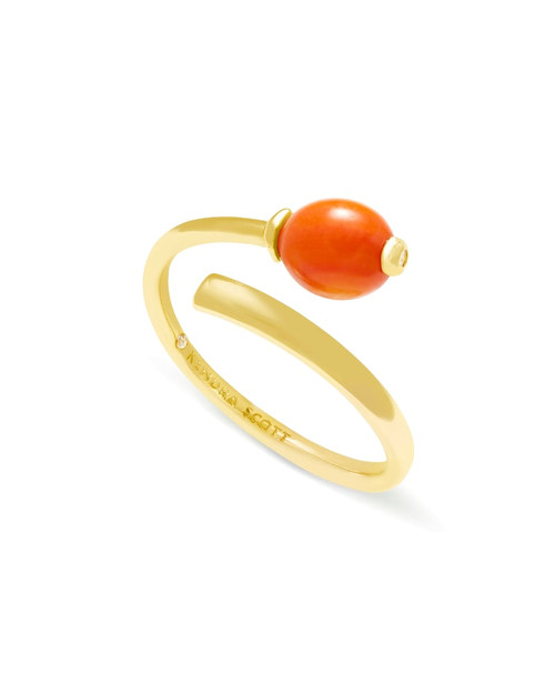 Demi Gold Wrap Ring In Papaya Mother Of Pearl