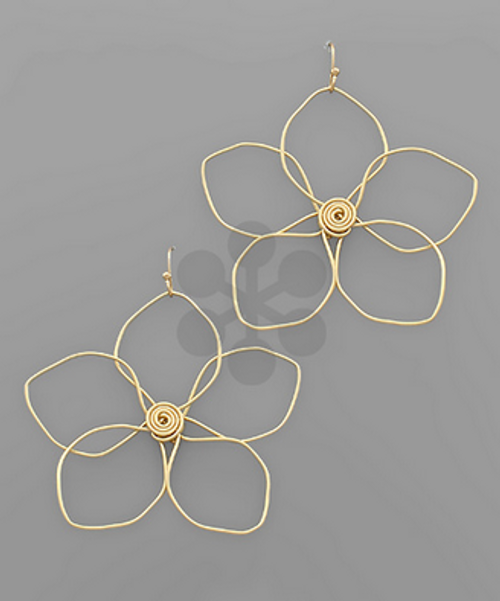 Bloom Where You Are Earring Matte Gold