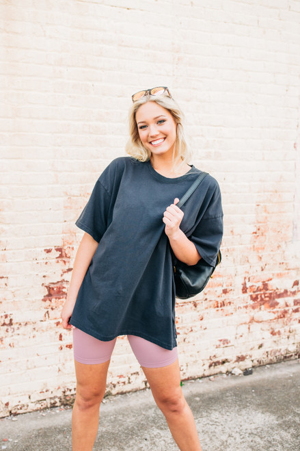 It's All About You Black Oversized Tee