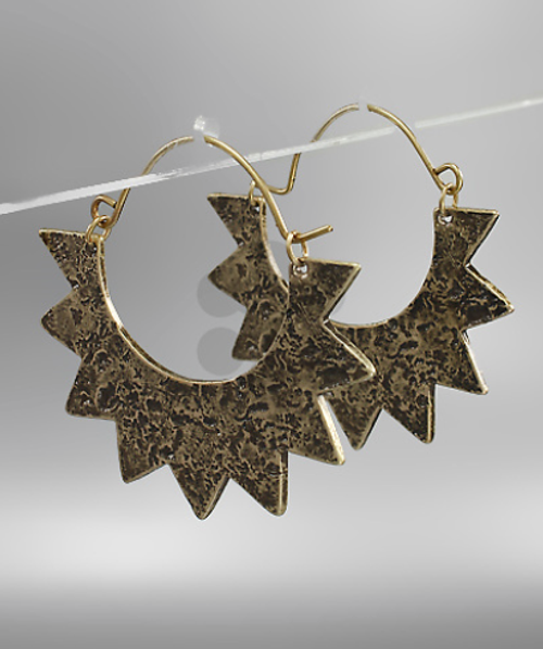 Sun Goddess Earrings Worn  Gold